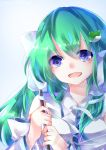 1girl :d ayatsuki_sugure bangs blue_background blue_eyes breasts commentary_request detached_sleeves eyebrows_visible_through_hair frog_hair_ornament green_hair hair_between_eyes hair_ornament hair_tubes holding kochiya_sanae long_hair long_sleeves looking_at_viewer medium_breasts open_mouth shirt single_sidelock smile snake_hair_ornament solo touhou upper_body white_shirt