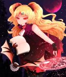 1girl akatsuki_yuni animal arano_oki bangs bare_shoulders bat black_gloves black_legwear blonde_hair book closed_mouth commentary_request dress eyebrows_visible_through_hair full_moon gloves hair_ornament hairclip holding holding_book leaning_forward long_hair magic_circle moon open_book parted_bangs partly_fingerless_gloves pleated_skirt purple_dress red_moon red_skirt skirt smile solo thigh-highs two_side_up uni_channel very_long_hair virtual_youtuber zipper_pull_tab