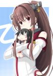 1girl blush brown_eyes brown_hair character_doll commentary_request crossed_arms detached_sleeves doll_hug hip_vent ichimi kantai_collection long_hair looking_at_viewer ponytail smile solo two-tone_background upper_body yahagi_(kantai_collection) yamato_(kantai_collection)