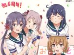 4girls ahoge akebono_(kantai_collection) anniversary bandaid bandaid_on_face banner bell black_hair blue_sailor_collar breast_rest breasts breasts_on_head brown_eyes brown_hair closed_eyes commentary_request confetti crab flower gradient gradient_background hair_bell hair_bobbles hair_flower hair_ornament jingle_bell kantai_collection large_breasts long_hair looking_at_viewer meguru_(megurunn) multiple_girls oboro_(kantai_collection) one_eye_closed pink_eyes pink_hair pointing purple_hair rabbit sailor_collar sazanami_(kantai_collection) school_uniform serafuku short_hair short_sleeves side_ponytail smile tongue tongue_out twintails twitter_username upper_body ushio_(kantai_collection) very_long_hair violet_eyes