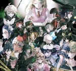 6+boys 6+girls akamatsu_kaede amami_rantarou angry apron beard bird black_eyes black_hair black_headwear black_skirt blonde_hair blue_hair breasts bug butterfly cape chabashira_tenko cleavage collarbone commentary_request danganronpa english_text everyone eyebrows_visible_through_hair face_mask facial_hair glasses goatee goggles goggles_on_head gokuhara_gonta green_hair green_headwear grey_eyes grey_hair hair_between_eyes hair_ornament hair_scrunchie happy harukawa_maki hat headdress highres holding hoshi_ryouma insect instrument iruma_miu keebo kneehighs large_breasts long_hair looking_at_viewer maid_apron maid_dress maid_headdress mask medium_breasts medium_hair mole mole_under_eye momota_kaito multiple_boys multiple_girls new_danganronpa_v3 ouma_kokichi pantyhose piano piano_keys pink_eyes plate pleated_skirt purple_hair red_eyes red_ribbon red_shirt red_skirt redhead ribbon saihara_shuuichi sakuyu school_uniform scrunchie shinguuji_korekiyo shirogane_tsumugi shirt short_hair skirt small_breasts smile toujou_kirumi white_shirt witch_hat yellow_eyes yonaga_angie yumeno_himiko