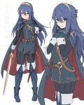 1girl bangs belt blue_eyes blue_footwear blue_hair blush bodysuit boots cape commentary_request english_text eyebrows_visible_through_hair falchion_(fire_emblem) fingerless_gloves fire_emblem fire_emblem:_kakusei full_body gloves hair_between_eyes hands_on_own_chest hands_together holding holding_sword holding_weapon long_hair looking_at_viewer lucina nintendo shiseki_hirame shoulder_armor simple_background standing sword thigh-highs thigh_boots tiara translation_request weapon white_background wrist_cuffs