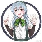1girl anniversary bow bowtie braid circle commentary_request fang green_neckwear grey_eyes index_finger_raised kantai_collection long_hair looking_at_viewer open_mouth open_palm plaid_neckwear shirt sidelocks silver_hair single_braid smile solo suspenders wavy_hair white_background white_shirt yamagumo_(kantai_collection) yukiguni_yuu