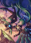 1girl aqua_eyes boots falling green_hair halterneck hatsune_miku high_heel_boots high_heels highres lolita_fashion long_hair mechanical_wings mool_yueguang open_mouth outstretched_arm shooting_star solo star_(sky) thigh-highs thigh_boots thighs twintails very_long_hair vocaloid wings