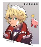 1boy ahoge blonde_hair blue_eyes blush hal_laboratory_inc. highres hoshi_no_kirby kirby kirby_(series) kiriya_(552260) looking_at_viewer male_focus monolith_soft nintendo short_hair shulk simple_background smile solo sora_(company) star super_smash_bros. super_smash_bros_for_wii_u_and_3ds xenoblade_(series) xenoblade_1