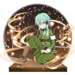 1girl blue_eyes blue_hair boots brown_footwear frown full_body green_jacket green_skirt hair_between_eyes highres jacket long_sleeves looking_at_viewer medium_skirt pleated_skirt shiny shiny_hair short_hair_with_long_locks sidelocks sinon sitting skirt solo transparent_background