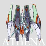 1girl armor armored_boots armored_dress athena_(mythology) boots braid breastplate character_name floating floating_object full_armor full_body gauntlets greek_mythology green_hair grey_background helmet highres long_hair looking_at_viewer mecha_musume open_mouth original palow plate_armor polearm red_eyes shoulder_armor solo spear twin_braids upper_teeth very_long_hair weapon