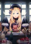 1girl abigail_williams_(fate/grand_order) bangs black_bow black_headwear blonde_hair blue_eyes bow cake dress fate/grand_order fate_(series) flesh food fork fruit hair_bow hat highres indoors knife long_hair long_sleeves looking_at_viewer open_mouth orange_bow pancake parted_bangs plate polka_dot polka_dot_bow popuru sleeves_past_fingers sleeves_past_wrists solo strawberry stuffed_animal stuffed_toy table teddy_bear very_long_hair window wooden_table