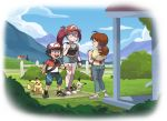 1boy 2girls alternate_universe apron baseball_cap black_hair blue_sky blush brown_hair bush closed_eyes clouds cloudy_sky commentary creatures_(company) denim english_commentary game_freak gen_1_pokemon gen_7_pokemon hanako_(pokemon) hat house jeans kiana_mai mimikyu mother_and_son multiple_girls musashi_(pokemon) nintendo pants pikachu pokemon ponytail redhead satoshi_(pokemon) shoes shorts sky sneakers yuri