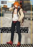 1boy alternate_costume aqua_eyes bangs barcode blurry blurry_background denim english_text guitar_case hand_in_pocket headphones highres instrument_case ishitsu_kenzou jeans kanji lang_wu_yao layered_clothing long_hair looking_at_viewer male_focus orange_hair pants shoes sneakers sweater thunderbolt_fantasy twitter_username