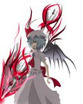 1girl absurdres back_bow bare_arms bat_wings blue_hair bow collar eyebrows_visible_through_hair fang frilled_collar frilled_sleeves frills hat highres jewelry looking_at_viewer mob_cap nintoku open_mouth polearm puffy_short_sleeves puffy_sleeves red_eyes remilia_scarlet short_hair short_sleeves simple_background solo spear touhou weapon white_background wings
