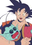 2boys :d absurdres arm_around_neck black_eyes black_hair blue_skin commentary_request d: dougi dragon_ball dragonball_z highres looking_at_another multiple_boys nervous north_kaiou open_mouth oshiruko5989 simple_background smile son_gokuu spiky_hair sunglasses sweatdrop teeth white_background wristband