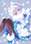 1girl bangs blue_bow blue_eyes bow brown_legwear closed_mouth commentary_request dennou_shoujo_youtuber_shiro eyebrows_visible_through_hair fur-trimmed_boots fur-trimmed_sleeves fur_collar fur_trim grey_hair hair_between_eyes hands_up hat head_tilt hinayuki_usa jacket knees_together_feet_apart long_sleeves looking_at_viewer pantyhose plaid plaid_bow pleated_skirt puffy_short_sleeves puffy_sleeves shiro_(dennou_shoujo_youtuber_shiro) short_over_long_sleeves short_sleeves skirt smile solo star virtual_youtuber white_footwear white_headwear white_jacket white_skirt