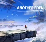 1boy album_cover aldo_(another_eden) another_eden bird black_hair blue_sky cat clouds cloudy_sky copyright_name cover day english_text floating_city floating_island flock highres landscape official_art outdoors scenery sky varuo_(another_eden)