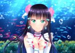 1girl black_hair blue_hair blurry blurry_background blush bubble detached_sleeves earrings fish fujimori_shiki gradient_hair green_eyes hair_ornament highres jewelry koi_ni_naritai_aquarium kurosawa_dia long_hair long_sleeves looking_at_viewer love_live! love_live!_sunshine!! mole mole_under_mouth multicolored_hair shiny shiny_hair smile solo striped striped_neckwear sunlight two-tone_hair underwater upper_body white_sleeves