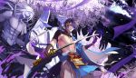 5boys ana_bi armor bare_chest black_gloves blue_eyes blue_hair character_request commentary_request flower gloves hairband hat holding holding_sword holding_weapon japanese_clothes long_hair male_focus mikazuki_munechika multiple_boys purple_flower purple_theme smile sword tassel touken_ranbu weapon wisteria