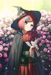 1girl bob_cut brown_eyes cape closed_mouth commentary danganronpa flower hair_ornament hairclip hat holding holding_flower jacket long_sleeves looking_at_viewer new_danganronpa_v3 pink_flower red_flower red_rose red_skirt redhead rose school_uniform short_hair skirt smile solo ssumbi witch_hat yumeno_himiko