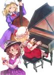 3girls ascot blonde_hair blush bow brown_eyes brown_hair castanets cello commentary_request crystal dress eyebrows_visible_through_hair fedora flandre_scarlet frilled_shirt frilled_skirt frills glasses hat hat_bow hat_ribbon highres instrument maribel_hearn medium_hair mob_cap multiple_girls music one_eye_closed piano piano_bench playing_instrument playing_piano puffy_short_sleeves puffy_sleeves purple_dress red_bow red_eyes red_ribbon red_skirt red_vest ribbon shirt short_hair short_sleeves side_ponytail sitting skirt smile terrajin touhou usami_renko vest white_bow wings wrist_cuffs