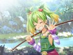 1girl blonde_hair breasts closed_eyes collarbone day detached_sleeves earrings gradient_hair green_hair green_overalls grin hair_bobbles hair_ornament holding_rod jewelry long_sleeves multicolored_hair necklace oto_falcom outdoors ricotta_(ys) sideboob small_breasts smile solo striped_sleeves two-tone_hair upper_body ys ys_viii_lacrimosa_of_dana
