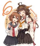 2girls ahoge anchor_symbol black_sailor_collar black_skirt blush boots brown_background brown_eyes brown_hair detached_sleeves double_bun eyebrows_visible_through_hair folded_ponytail hair_ornament hairband headgear inazuma_(kantai_collection) japanese_clothes kantai_collection kongou_(kantai_collection) long_hair long_sleeves looking_at_viewer multiple_girls neckerchief nontraditional_miko nuno_(pppompon) one_eye_closed open_mouth pleated_skirt red_neckwear remodel_(kantai_collection) ribbon-trimmed_sleeves ribbon_trim sailor_collar school_uniform serafuku shirt simple_background skirt thigh-highs thigh_boots translation_request white_background white_shirt