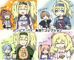 5girls alternate_costume black_shirt blonde_hair blue_eyes blue_hair breasts brown_hair character_name clothes_removed commentary_request dixie_cup_hat drink fish gambier_bay_(kantai_collection) hairband hat intrepid_(kantai_collection) johnston_(kantai_collection) kaku_choushi kantai_collection large_breasts long_hair military_hat multiple_girls multiple_views orange_shirt pajamas pillow pink_shirt ponytail samuel_b._roberts_(kantai_collection) saratoga_(kantai_collection) school_uniform serafuku shark shirt short_hair squid t-shirt thumbs_up twintails two_side_up upper_body white_shirt