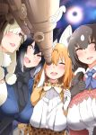 4girls :d alpaca_suri_(kemono_friends) alternate_hair_length alternate_hairstyle animal_ear_fluff animal_ears bangs black_gloves black_hair black_neckwear blonde_hair blue_eyes bow bowtie breasts brown_bear_(kemono_friends) brown_eyes extra_ears eyebrows_visible_through_hair fox_ears gloves hair_between_eyes hair_over_one_eye hayashi_(l8poushou) highres kemono_friends large_breasts long_hair multiple_girls older one_eye_closed open_mouth print_neckwear round_teeth serval_(kemono_friends) serval_ears serval_print silver_fox_(kemono_friends) smile teeth telescope white_gloves