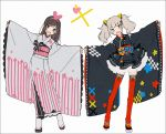 2girls :d a.i._channel adapted_costume animal_ears bangs black_bow black_footwear black_kimono blue_eyes blue_ribbon blunt_bangs blush_stickers bow brown_hair cat_ears checkered cross-laced_clothes cross-laced_legwear dot_nose fake_animal_ears floral_print frilled_skirt frills full_body geta grey_kimono hairband hakusai_(tiahszld) heart japanese_clothes kaguya_luna kimono kizuna_ai lace lace-trimmed_kimono lace-trimmed_sleeves layered_skirt long_hair looking_at_viewer matching_outfit multicolored_hair multiple_girls obi obijime open_mouth outstretched_arms pink_bow pink_hairband pink_sash red_legwear red_sash ribbon ribbon-trimmed_clothes ribbon-trimmed_sleeves ribbon_trim sash short_kimono skirt smile socks streaked_hair the_moon_studio thigh-highs twintails very_long_sleeves white_background white_footwear white_hair white_legwear wide_sleeves