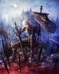 1boy animal_skull armor blood blue_eyes broken broken_wall castle closed_mouth embers flag frown gauntlets greaves highres holding holding_flag holding_sword holding_weapon liquid male_focus moon original pauldrons puddle rubble ruins senano-yu sitting skull smoke solo stepping sword tree weapon white_hair