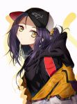 1girl baseball_cap black_headwear black_hoodie blurry closed_mouth clothes_writing commentary_request depth_of_field ear_piercing earrings english_text eyebrows_visible_through_hair eyes_visible_through_hair from_side hair_ornament hair_scrunchie hat head_tilt highres hood hood_down hoodie jacket jewelry kurokawa_eren long_hair long_sleeves looking_at_viewer looking_to_the_side off_shoulder open_clothes open_jacket orange_jacket piercing ponytail precure purple_hair rudo_(rudorudo0917) scrunchie shadow sidelocks simple_background solo star star_earrings suite_precure upper_body white_background yellow_eyes yellow_scrunchie