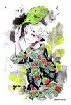 1girl flower green_eyes half-closed_eyes holding holding_leaf leaf long_sleeves maruti_bitamin original print_shirt red_flower reptile shirt short_hair smile solo upper_body white_hair