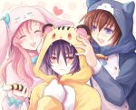 1girl 2boys :d animal_costume animal_ears animal_hood blue_bow blue_neckwear blue_ribbon blush bow brown_hair bunny_hood cat_hood closed_eyes embarrassed fake_animal_ears fake_tail frown gloves gundam gundam_seed gundam_seed_destiny hair_between_eyes hand_on_own_cheek hood hood_up kira_yamato lacus_clyne long_hair multiple_boys neck_ribbon open_mouth paw_gloves paws pink_hair pink_hoodie red_eyes ribbon shinn_asuka smile striped_tail sweatdrop tail tiger_hood violet_eyes white_gloves yuuka_seisen