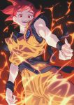 1boy belt colagabunomidb dougi dragon_ball dragon_ball_super dragonball_z energy floating glowing glowing_hair gradient gradient_background highres karate_gi looking_down male_focus muscle open_mouth orange_legwear outstretched_hand red_eyes redhead smile solo son_gokuu super_saiyan_god sweatband teeth tongue