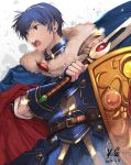 1boy armor blue_eyes blue_hair cape falchion_(fire_emblem) fire_emblem fire_emblem:_monshou_no_nazo fire_emblem:_shin_monshou_no_nazo fire_emblem_heroes fur_trim gloves intelligent_systems kero_sweet male_focus marth nintendo shield short_hair solo sword tiara weapon