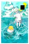 1girl artist_name box clouds cloudy_sky from_behind horizon looking_back maruti_bitamin moon original outdoors partially_submerged rectangle ripples shirt short_sleeves shorts sky solo white_shirt white_shorts