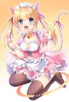 1girl animal_ear_fluff animal_ears apron bangs bell bell_choker blonde_hair blue_eyes blush breasts brown_footwear brown_legwear cat_ears cat_girl cat_tail choker cleavage cleavage_cutout collarbone commentary_request eyebrows_visible_through_hair fang frilled_apron frilled_skirt frills full_body hair_between_eyes hair_ribbon halftone halftone_background heart_cutout highres jingle_bell loafers long_hair looking_at_viewer maid maid_headdress medium_breasts open_mouth original pink_choker pink_shirt pink_skirt pleated_skirt puffy_short_sleeves puffy_sleeves red_ribbon ribbon romaji_text shirt shoes short_sleeves skirt solo tail tail_raised tail_ribbon thigh-highs twintails umitonakai waist_apron white_apron