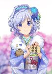 1girl alternate_costume anchor_symbol beads blue_eyes blue_hair blurry blurry_background blush chinese_zodiac commentary_request ema fengxiang_mimi field flower flower_field hair_beads hair_flower hair_ornament hair_ribbon highres holding holding_ema japanese_clothes kanzashi kimono looking_at_viewer pig ribbon short_hair sigsbee_(warship_girls_r) smile solo warship_girls_r year_of_the_pig yukata