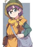 1girl bag bangs belt belt_buckle belt_pouch black-framed_eyewear blunt_bangs brown_belt buckle chrono_trigger closed_mouth glasses green_shirt grey_background grey_eyes head_tilt headset helmet highres long_sleeves looking_at_viewer lucca_ashtear nazonazo_(nazonazot) parted_bangs pouch purple_hair scarf shirt short_hair short_over_long_sleeves short_sleeves shoulder_bag smile solo standing yellow_scarf yellow_shirt