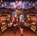 2girls absurdres aerial_fireworks ahoge ankleband architecture bell bili_girl_22 bili_girl_33 bilibili_douga black_legwear black_skirt blue_hair blush bracelet breasts cityscape cleavage_cutout dessert doitsu_no_kagaku east_asian_architecture fireworks food glasses hair_ornament hair_rings hairband hairclip high_heels highres holding holding_tray jewelry jingle_bell long_hair looking_at_viewer medium_breasts mountainous_horizon multiple_girls night night_sky official_art open_mouth outdoors railing red_eyes red_footwear red_hairband red_ribbon ribbon short_hair side_ponytail sidelocks skirt sky sleeveless small_breasts smile standing thigh-highs tray