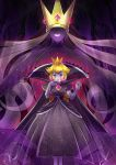 2girls blonde_hair cape crown disembodied_hands dress dual_persona earrings elbow_gloves giantess gloves high_collar highres jewelry konna-nani lipstick long_hair looking_at_viewer makeup multiple_girls paper_mario:_the_thousand_year_door princess_peach purple_cape purple_dress purple_gloves purple_skin red_eyes shadow_queen smile sparkle translucent white_lipstick