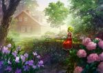 1girl ascot blurry blurry_foreground building chimney commentary_request dappled_sunlight day depth_of_field flower forest frilled_skirt frills grass green_hair highres house kazami_yuuka light_rays long_skirt long_sleeves looking_at_viewer miso_pan nature outdoors pink_flower plaid plant purple_flower red_eyes red_skirt rose scenery shirt short_hair sidelocks sitting skirt solo sunbeam sunlight touhou tree very_wide_shot white_shirt wing_collar