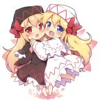 2girls :d :o baku-p bangs barefoot black_cape black_dress black_headwear blonde_hair blue_eyes blush bow cape capelet commentary_request dress eyebrows_visible_through_hair hair_between_eyes hair_bow hat highres lily_black lily_white long_hair looking_at_viewer multiple_girls open_mouth petals red_bow red_eyes smile touhou very_long_hair white_background white_capelet white_dress white_headwear