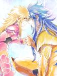 1boy 1girl armor blonde_hair blue_eyes blue_hair child clenched_hand closed_mouth commentary_request eye_contact eyebrows_visible_through_hair gemini_kanon height_difference kneeling long_hair looking_at_another mermaid_thetis saint_seiya shichimiso smile standing younger