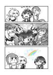 3girls :3 animal_ears anteater_ears anteater_tail bangs blowhole blush bow bowtie center_frills choker closed_eyes comic elbow_gloves eyebrows_visible_through_hair fingerless_gloves frilled_swimsuit frills fur_collar gloves greyscale hair_bow highres kemono_friends kotobuki_(tiny_life) long_sleeves monochrome multiple_girls narwhal_(kemono_friends) nose_blush nose_drip one-piece_swimsuit otter_ears otter_tail puffy_short_sleeves puffy_sleeves rainbow sailor_collar short_hair short_hair_with_long_locks short_sleeves shorts silky_anteater_(kemono_friends) small-clawed_otter_(kemono_friends) sneezing sparkle spot_color sweatdrop swimsuit tail translation_request