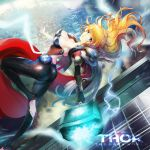 1girl armpits avengers black_gloves black_legwear blonde_hair blue_eyes breasts cape character_name cleavage elbow_gloves electricity genderswap genderswap_(mtf) gloves hammer large_breasts lips long_hair looking_at_viewer marvel neck pantyhose red_cape ruba_(akiraoe_84) single_elbow_glove single_glove skin_tight solo thor_(marvel)
