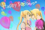 1boy 1girl 2019 ahoge balloon bangs black_shirt blonde_hair blue_sky blurry blurry_foreground commentary couple dated day depth_of_field ear_piercing earrings edward_elric english_commentary english_text eye_contact eyebrows_visible_through_hair eyes_visible_through_hair forehead-to-forehead fullmetal_alchemist happy hetero highres jewelry long_hair looking_at_another no_503ank number outdoors piercing pink_shirt ponytail profile see-through shirt sky sleeveless sleeveless_shirt smile text_focus white_shirt winry_rockbell yellow_eyes