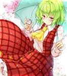 1girl aka_tawashi ascot bangs blush breasts cherry_blossoms commentary_request cowboy_shot cup eyebrows_visible_through_hair green_hair green_umbrella hair_between_eyes hands_up highres holding holding_cup holding_umbrella kazami_yuuka large_breasts light_particles long_sleeves looking_at_viewer petticoat plaid plaid_skirt plaid_vest red_eyes red_skirt red_vest shirt short_hair skirt skirt_set smile solo touhou umbrella vest white_shirt yellow_neckwear
