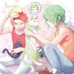 2boys ;d animal animal_on_head blue_eyes cat cat_on_head character_request clotho_buer collarbone green_hair gundam gundam_seed gundam_seed_destiny hair_over_eyes holding holding_cat male_focus multiple_boys on_head one_eye_closed open_mouth pants paw_background red_shirt redhead shani_andras shiny shiny_hair shirt sleeveless sleeveless_shirt smile sweatdrop torn_clothes torn_pants twitter_username white_background white_pants yellow_shirt yuuka_seisen