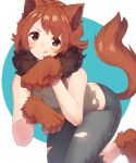 1girl :3 animal_ears bare_shoulders blue_background blush borrowed_character brown_eyes brown_gloves brown_hair closed_mouth commentary_request commission dog_ears dog_girl dog_tail fur_collar gloves grey_pants grey_shirt highres long_hair looking_at_viewer numbers_(boars) original pants paw_gloves paw_shoes paws shirt shoes sleeveless sleeveless_shirt solo tail tail_raised tongue tongue_out torn_clothes torn_pants torn_shirt two-tone_background v-shaped_eyebrows white_background