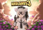 1girl aardwolf_(kemono_friends) aardwolf_ears aardwolf_print animal_ear_fluff animal_ears animal_print backlighting bare_shoulders black_hair black_neckwear borderlands borderlands_3 closed_mouth clouds collared_shirt commentary_request elbow_gloves flower gloves grey_hair hair_between_eyes hand_on_own_chest hands_up high_ponytail kadim kemono_friends long_hair looking_at_viewer multicolored_hair necktie parody ponytail print_gloves print_shirt shirt sky sleeveless sleeveless_shirt smile solo sun title_parody twilight two-tone_hair upper_body wing_collar