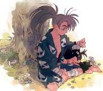 1boy 1girl age_difference bandage barefoot black_hair child closed_eyes dororo_(character) dororo_(tezuka) edmhhhnh flower grey_hair hyakkimaru_(dororo) indian_style japanese_clothes looking_at_another messy_hair ponytail sitting sleeping sleeping_on_person